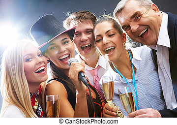Singing - Photo of businesspeople with flutes of sparkling...