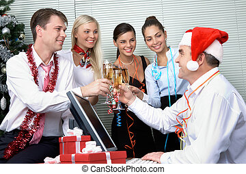Corporate party - Image of cheering associates making toast...