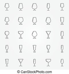 Wine glasses icons collection