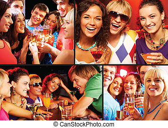 Cheering up - Collage of happy friends toasting and enjoying...