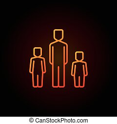 Father with two children colorful icon. Vector family...