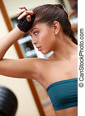 Sportive girl - Portrait of sporty brunette in tanktop after...