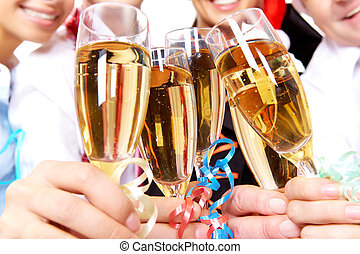 Toast for success - Image of crystal glasses full of...