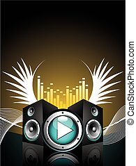 vector illustration for musical theme with speakers and wing