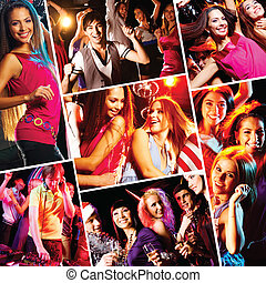 Clubbing - Collage of attractive young people dancing at...