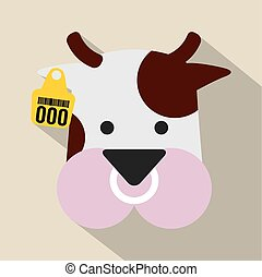 Cute Cow Head With Ear Tag Vector Illustration