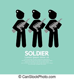 Soldiers With Guns Symbol Vector Illustration