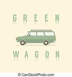 Side View Of Green Wagon Vector Illustration