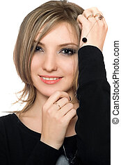 Portrait of a pretty playful young woman