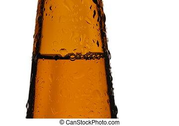 Bottle of malt macro photo. Close up. White background -...