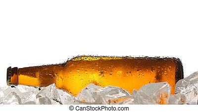 Lying bottle of beer on ice. Close up. White background