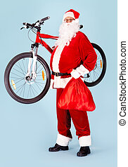 Happy Santa - Photo of happy Santa Claus with red sack and...