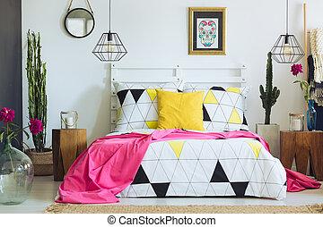 Unique geometric bedclothes and cactus - Unique white...
