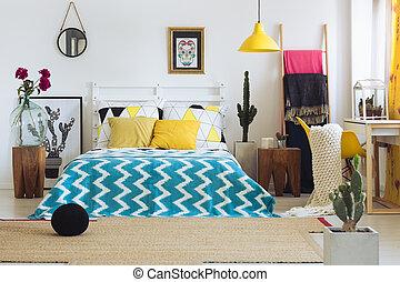 Trendy geometric bedroom, vivid colors - Trendy geometric...
