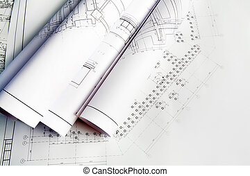 Drafts of new house - Close-up of blueprints with sketches...