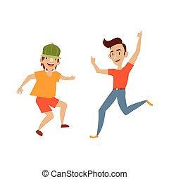 Vector teenagers in casual clothing funny dances
