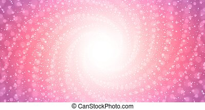 Vector infinite tunnel of shining flares on pink background...