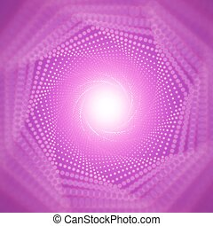 Vector infinite tunnel of shining flares on violet...
