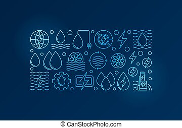 Blue hydropower linear illustration - vector colorful...