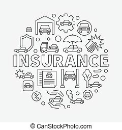 Car insurance round illustration