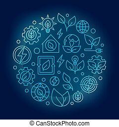 Green energy outline blue illustration