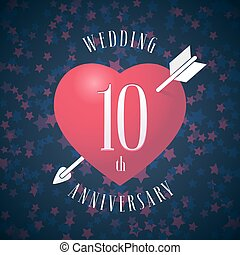 10 years anniversary of being married vector icon, logo....