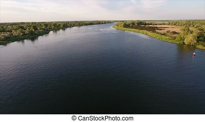 Aerial shot of the Dnipro river and its picturesque...
