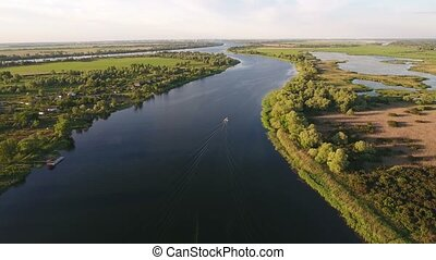 Aerial shot of the Dnipro river and its riveting riverbanks...