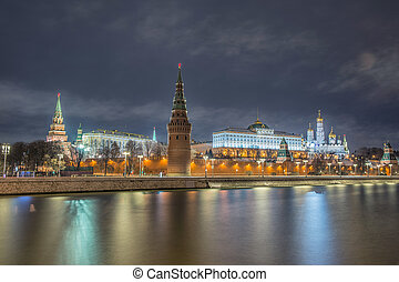 Russia, night view of the Moskva River, Bridge and the...