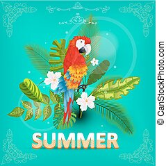 Summer background with tropical plants and flowers. For  typographical, banner, poster, party invitation. vector illustration