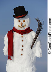 snowman with hat and shawl
