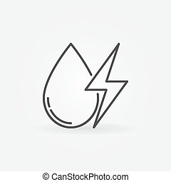 Water drop with energy sign icon - vector minimal hydropower...
