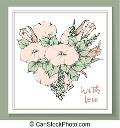Retro vintage postcard, card or business card with flower bindweed.