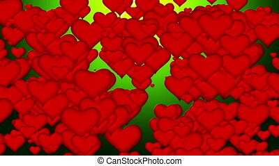 flying hearts abstract background