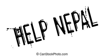 Help Nepal rubber stamp. Grunge design with dust scratches....
