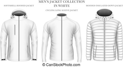 Men's jackets collection in white. Vector illustration.