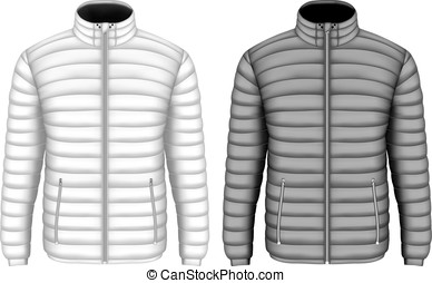 Men's insulated down jacket with zip pockets. Vector...