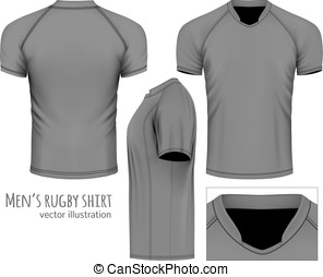 Rugby jersey (black variant, front, side and rear views)....