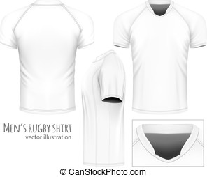 Rugby jersey (white variant, front, side and rear views)....