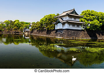 Imperial Palace in Tokyo - Imperial Palace with reflection...