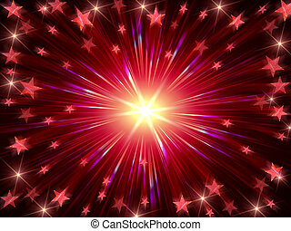 Christmas background radiate in red and violet - red...