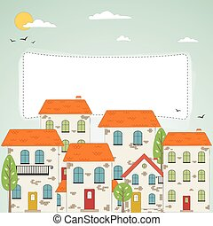 Old city background with place for your text. Vector