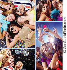 Clubbers - Collage of attractive young people having fun and...