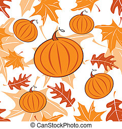 Autumnal seamless pattern with pumpkins