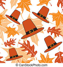 Autumnal seamless puttern with pilgrim hats Vector...
