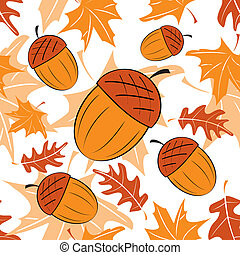 Seamless autumnal pattern with acorns Vector illustration