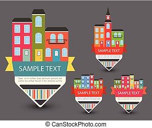 Set of Color sale vintage signs/labels