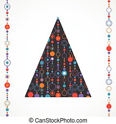 Abstract vintage christmas tree made with circles