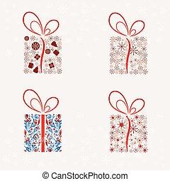 Set of Abstract Christmas present box.