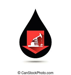 Oil industry concept. Oil price falling down graph with petroleum pump and oil drop.